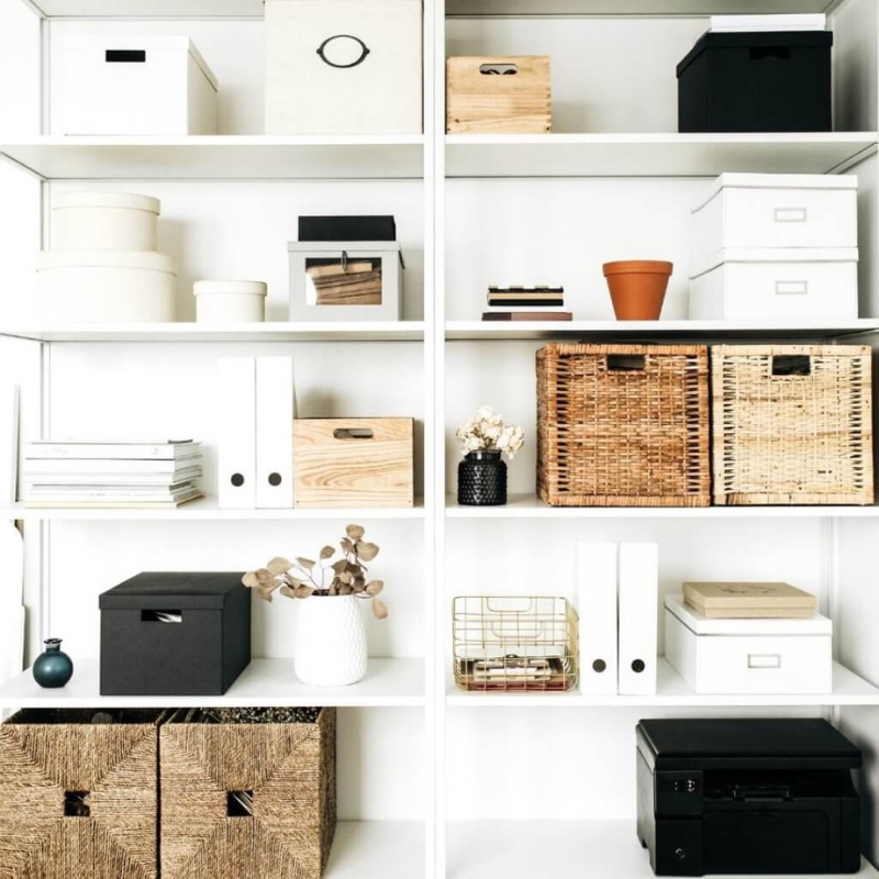 Counter storage with baskets