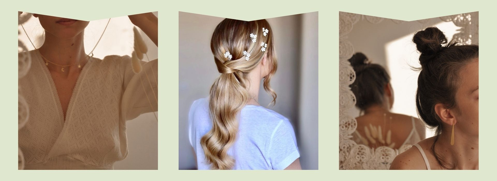 Gold necklace, flower braid, gold earrings