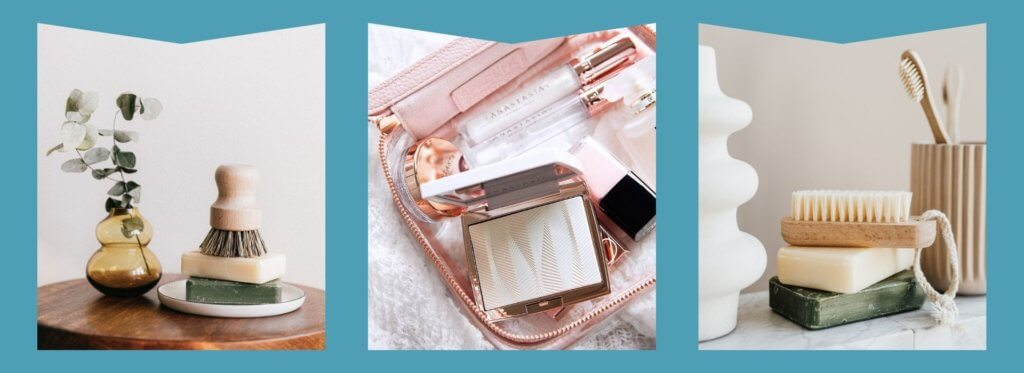 Stacked bars of soup, Cosmetics bag with makeup, Soap bars with brush