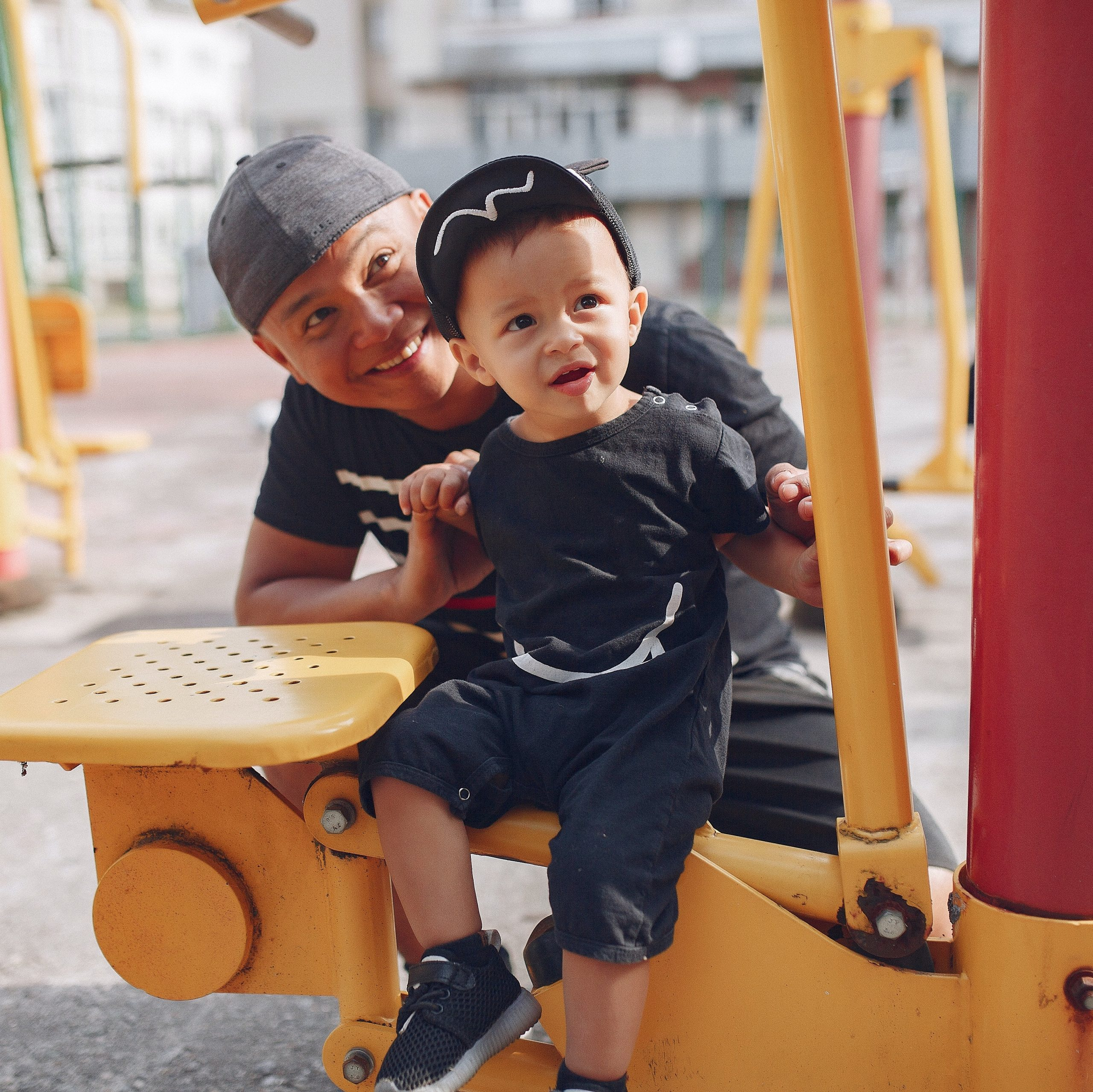 Father with son on playground