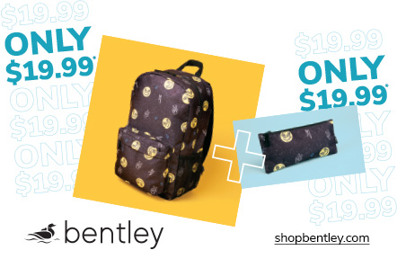 bentley back Pack and Pencil case sale, with graphic of backpack and pencil case