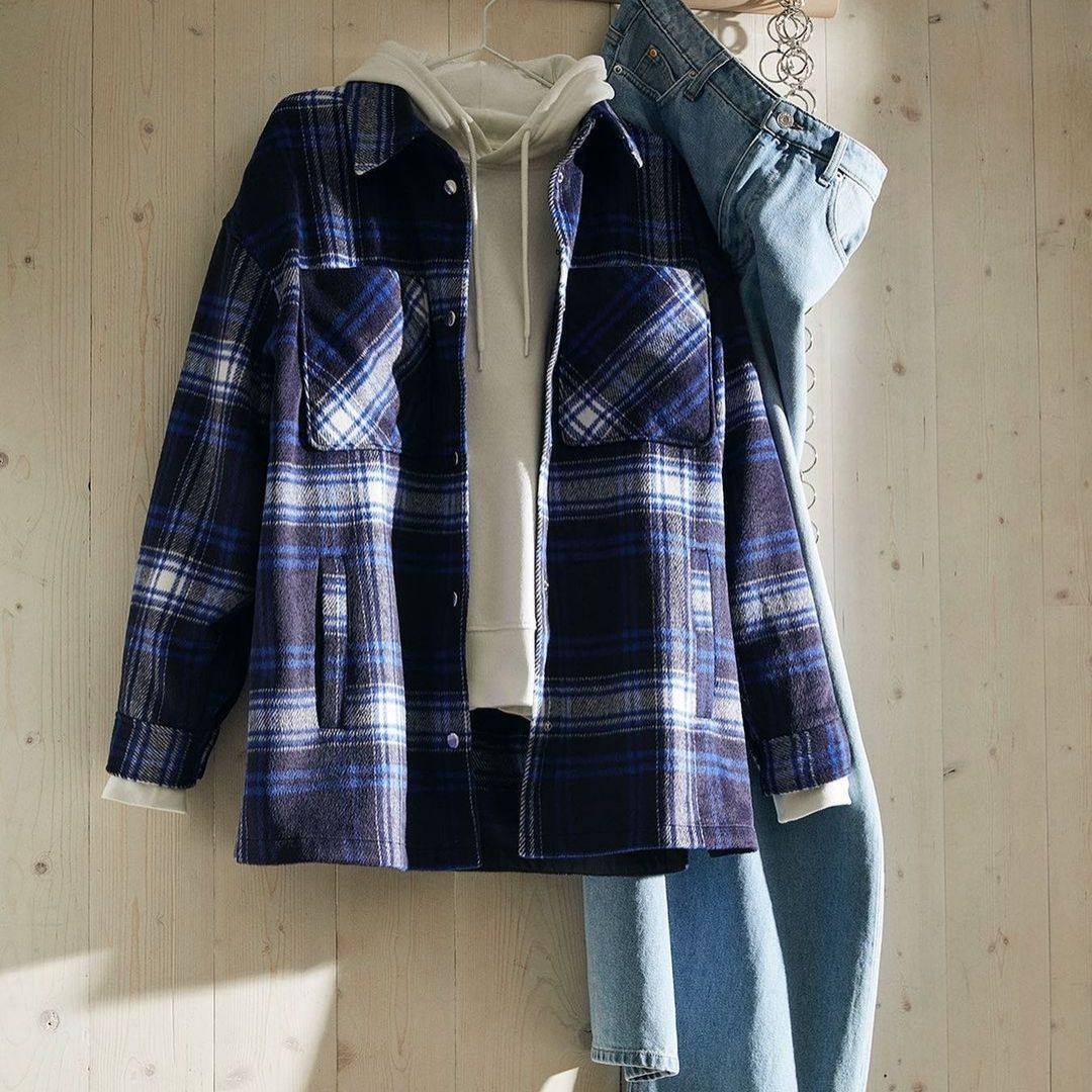 Plaid jacket and jeans