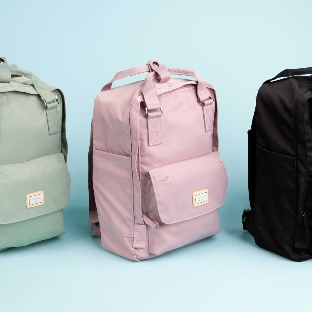 Green, pink and black backpack