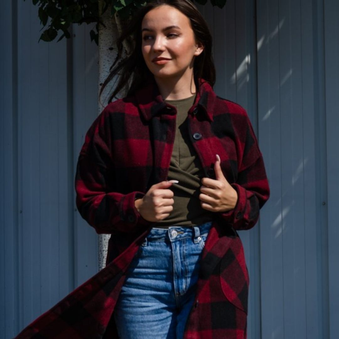 Red and black plaid shacket