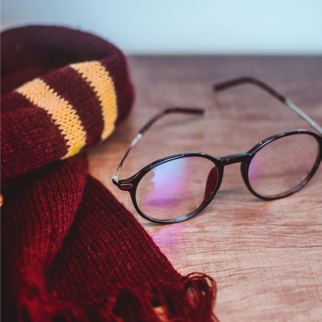 Harry Potter-themed scarf and glasses